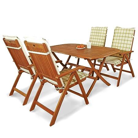 indoba® IND-70063-BASE5 + IND-70412-AUHL - Serie Bangor - Gartenmöbel Set 9-teilig aus Holz FSC zertifiziert - 4 klappbare Gartenstuhle + klappbarer Gartentisch + 4 Comfort Auflagen Karo Grun
