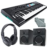 Novation Launchkey MK2 49-Key USB MIDI Keyboard Controller and Stereo Pair Bluetooth Monitor Accessory Bundle