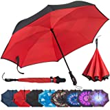 Repel Reverse Folding Inverted Umbrella with 2 Layered Teflon Canopy and Reinforced Fiberglass Ribs (Red) (Color: Tangerine, Tamaño: One_Size)