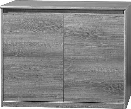 CS Schmalmöbel 75.074.074/13 Grifflose Kommode Soft Plus Smart Typ 13, 45 x 106 x 84 cm, silbereiche