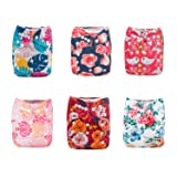 ALVABABY Pocket Cloth Diapers Reusable Washable Adjustable for Baby Boys and Girls,6 Pack with 12 Inserts 6DM49 (Color: Sets 6DM49, Tamaño: All in one)