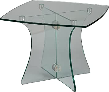Small Curved Square Coffee Table Tempered Glass