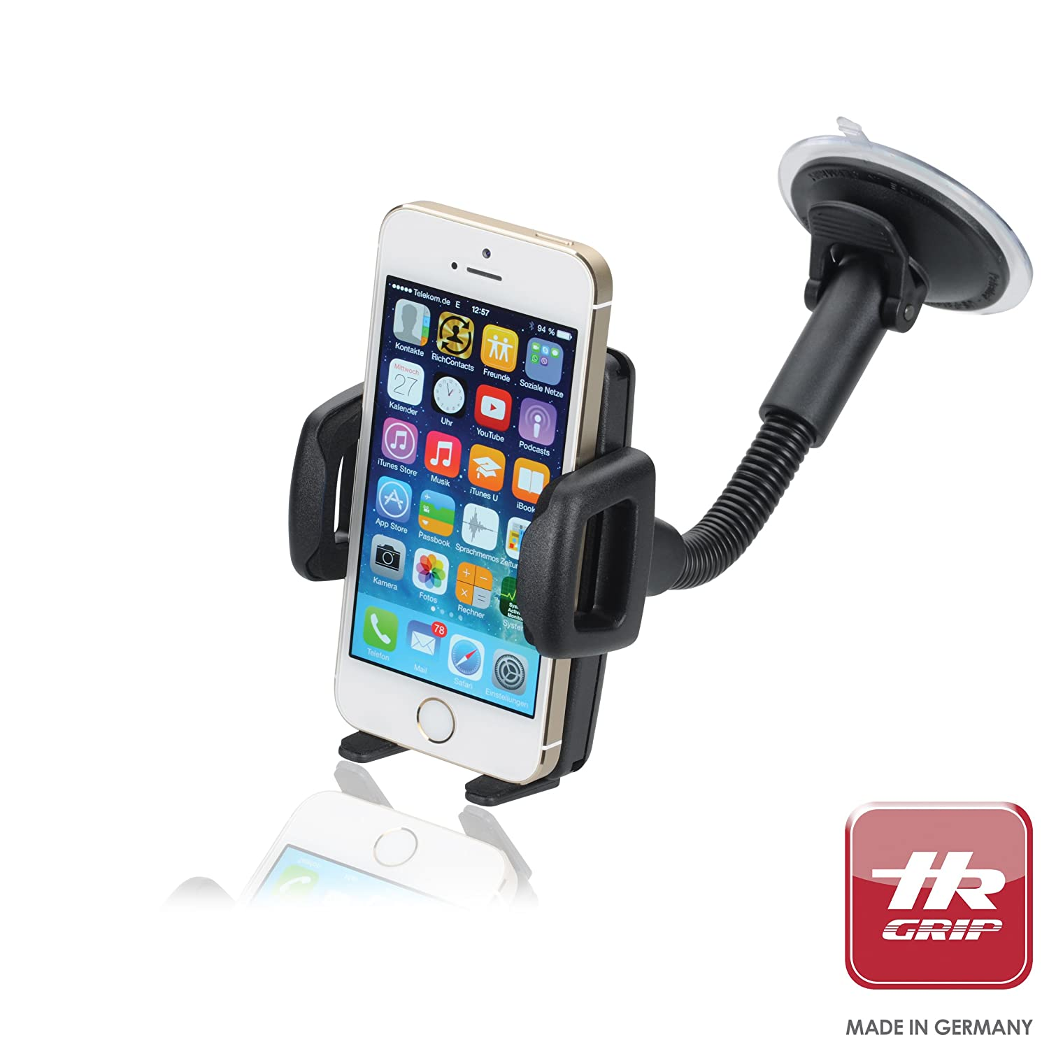 """HR Grip Flex Kit Universal Suction Dashboard and Windsheild Car Mount Holder for iPhone 5S/5C/5/4S/4, Samsung Galaxy S4/S3, most 5"""" Smartphones and MP3 Players"""
