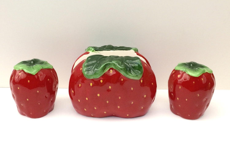 3-D Strawbery Salt & Pepper Shaker with Napkin Holder Set, 83528 BY ACK