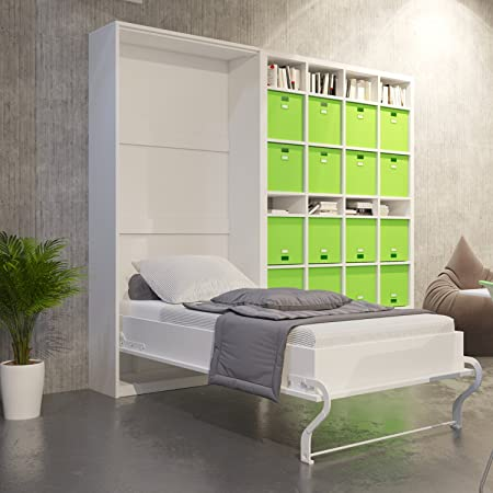 Murphy Lit-armoire murale vertical Blanc 90x 200