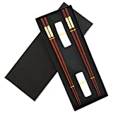 Chinese Dragon Chopsticks, Red Sandalwood, Reusable Classic Style, 2 Pairs Wooden Chopsticks with Holder and Case, Chinese Gift Set (Color: Golden)