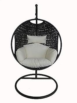 Bentley Garden - Siège suspendu et support - pour patio/extérieur - style rotin - noir/coussin crème