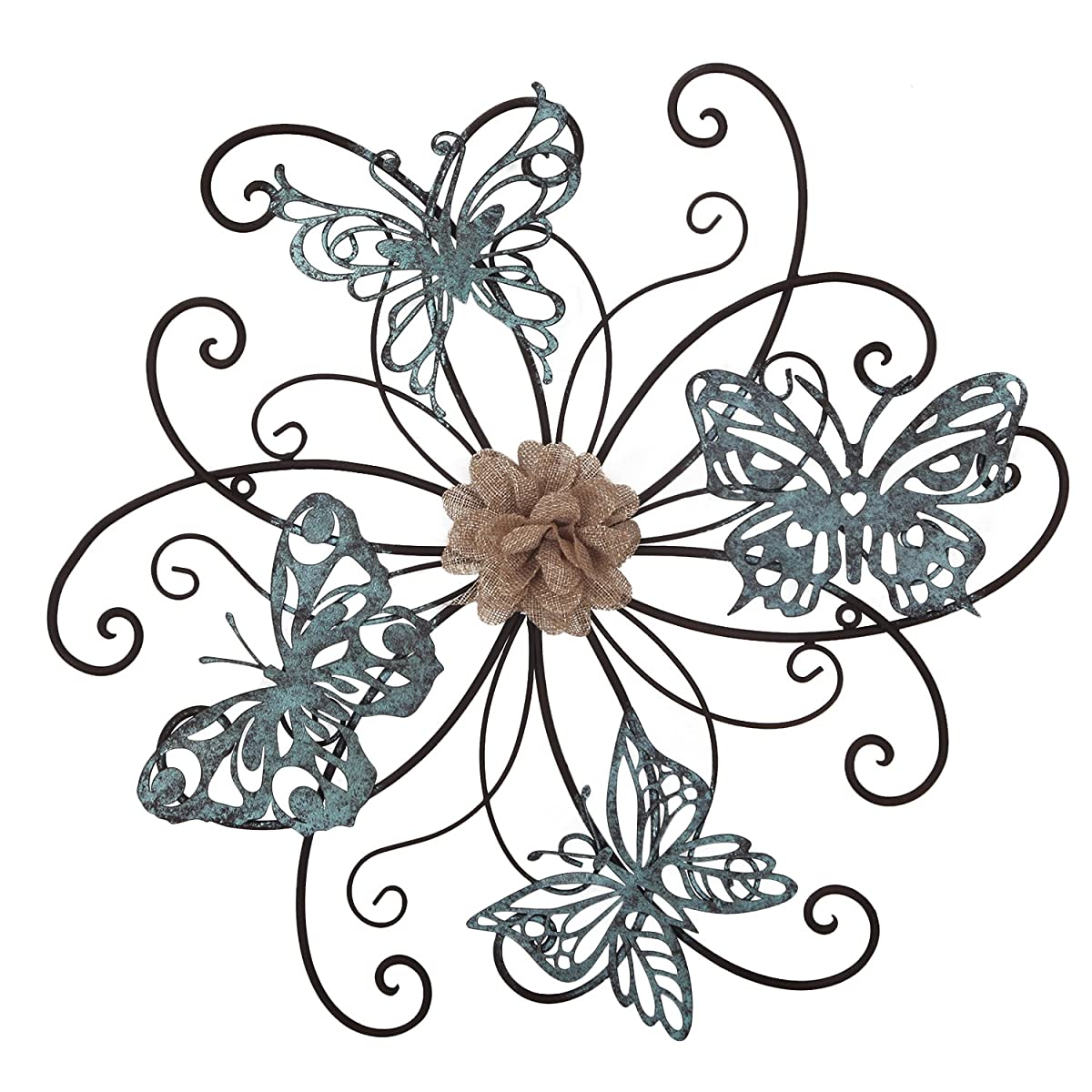 Homes Art Flower and Butterfly Urban Design Metal Wall Decor for Nature Home Art Decoration & Kitchen Gifts