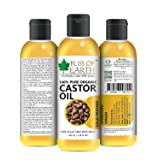 Bliss Of Earth&Trade; 100% Pure Organic Castor Oil, Cold Pressed & Hexane Free 100Ml Best 100% Organic & Pure Castor Oil For Hair Growth, Face