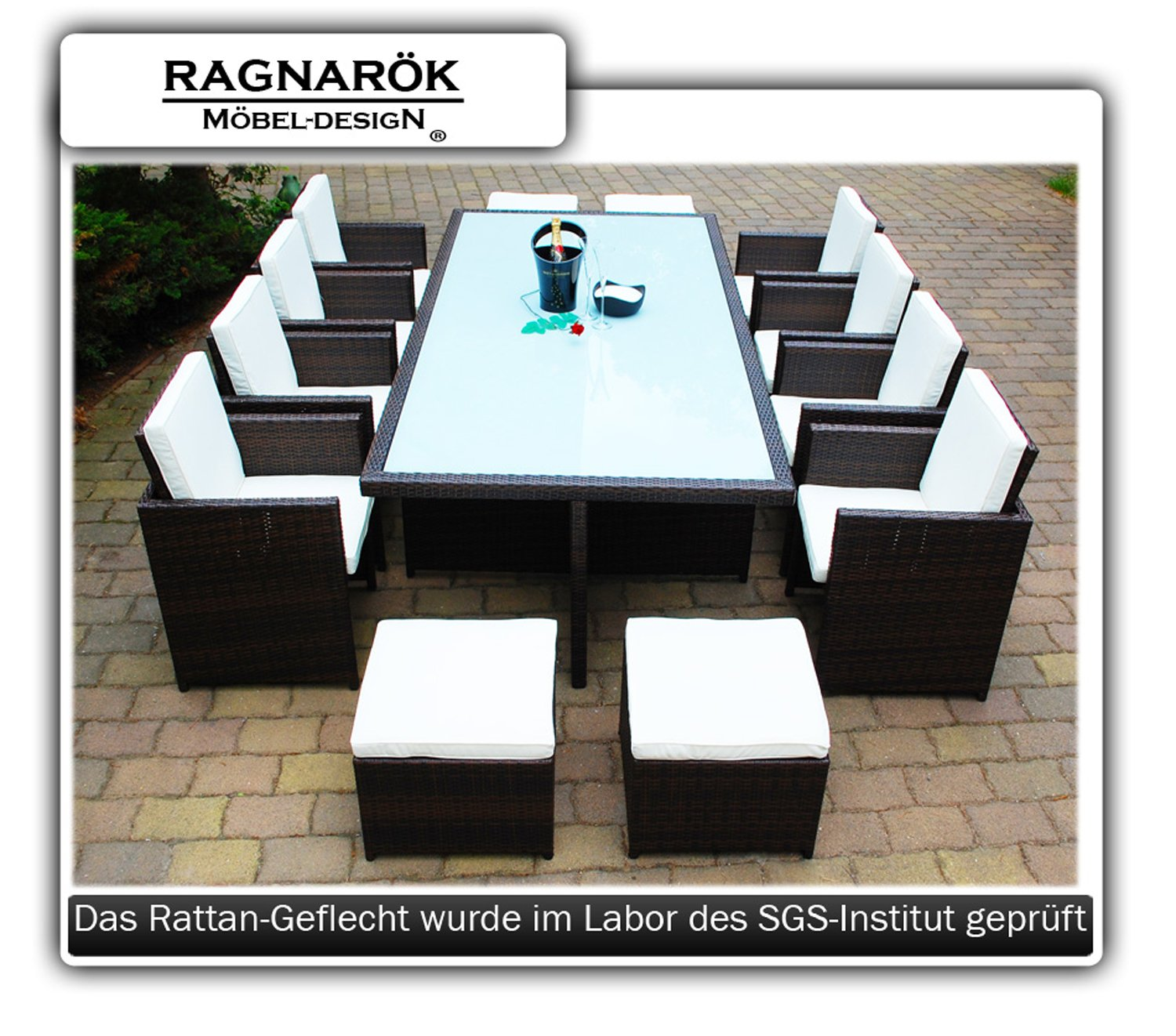 gartenm bel polyrattan essgruppe tisch mit 8 st hlen 4 hocker deutsche marke eignene. Black Bedroom Furniture Sets. Home Design Ideas