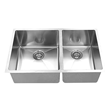 BOANN UMR3219D2 Hand Made R15 60/40 Double Bowl 32 x 19-Inch Undermount 304 Stainless Steel Kitchen Sink, 16-Gauge