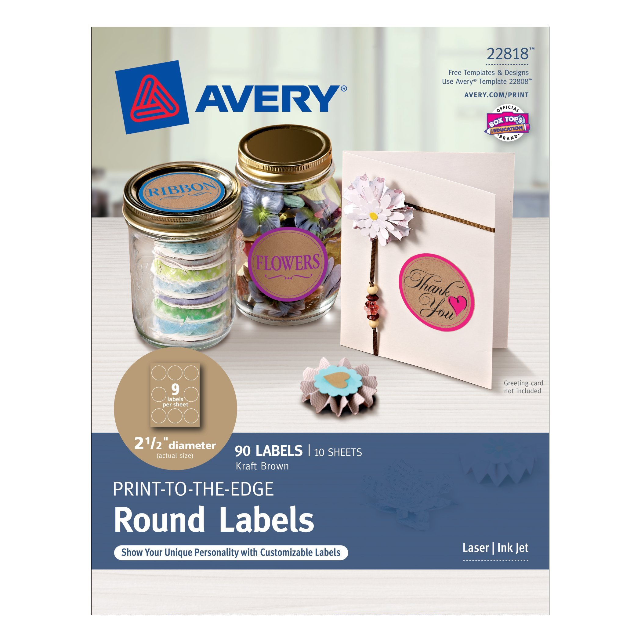 Avery print to the edge round labels kraft brown 25 inch for Avery round label sizes