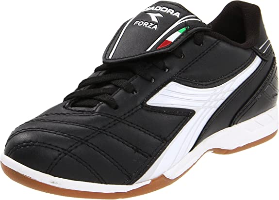 Diadora Forza ID Soccer Cleat (Little Kid/Big Kid),Black/White/Silver,2 M US Little Kid