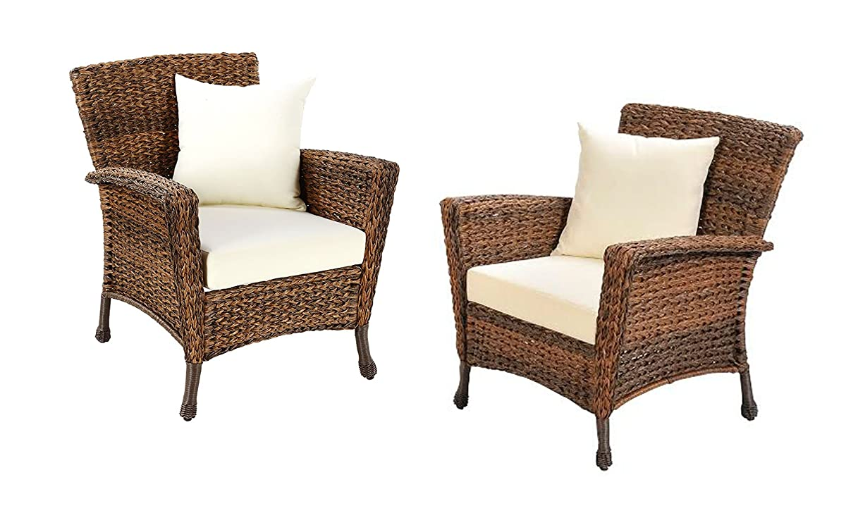W Unlimited Rustic Collection 2 Piece Patio Chairs Outdoor Furniture Light Brown Rattan Wicker Garden Patio Furniture Bistro Set, Lounger Deep Seating Cushions