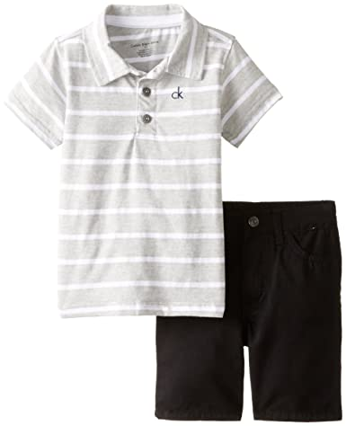 Calvin Klein Little Boys' Two-Piece Polo Top and Short Set