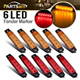 Partsam 10 x 3.8 Truck Bus Boat Trailer Amber Red Side Marker Indicators Light Lamp 6LED Marker Light Amber, Rear Side Marker Light, Truck Cab Marker Light, RV Marker Light (Color: 5*Amber+5*Red)