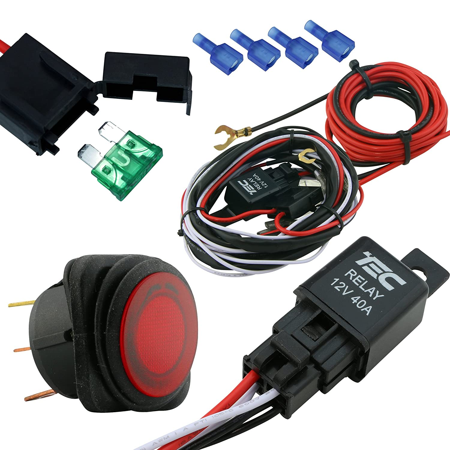 lamphus cruizer off road atv/jeep led light bar wiring harness - 40 amp  relay on/off switch
