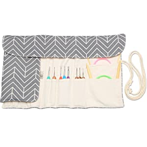 Teamoy Knitting Needles Holder Case(up to 11 Inches), Cotton Canvas Rolling Organizer for Straight and Circular Knitting Needles, Crochet Hooks and Accessories, Arrow - NO Accessories Included (Color: Gray, Tamaño: 11 inches)