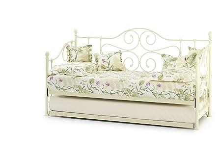 Florenz Metall Single Day Bett und Gästebett, Weiß, 90 cm