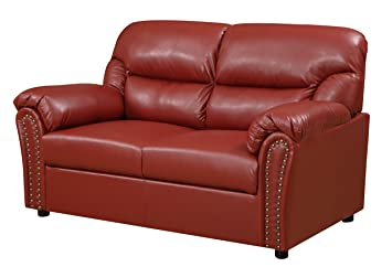 Glory Furniture G269-L Living Room Love Seat, Red
