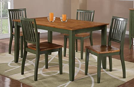 Candice Table Set Oak & Green/4 Chairs