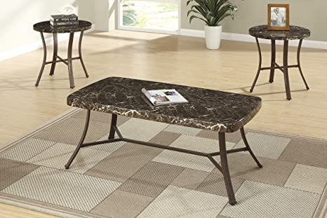 3pcs Coffee Table Set/ Cocktail Table w/ Faux Marble Top and Metal Legs & 2 End Tables Set