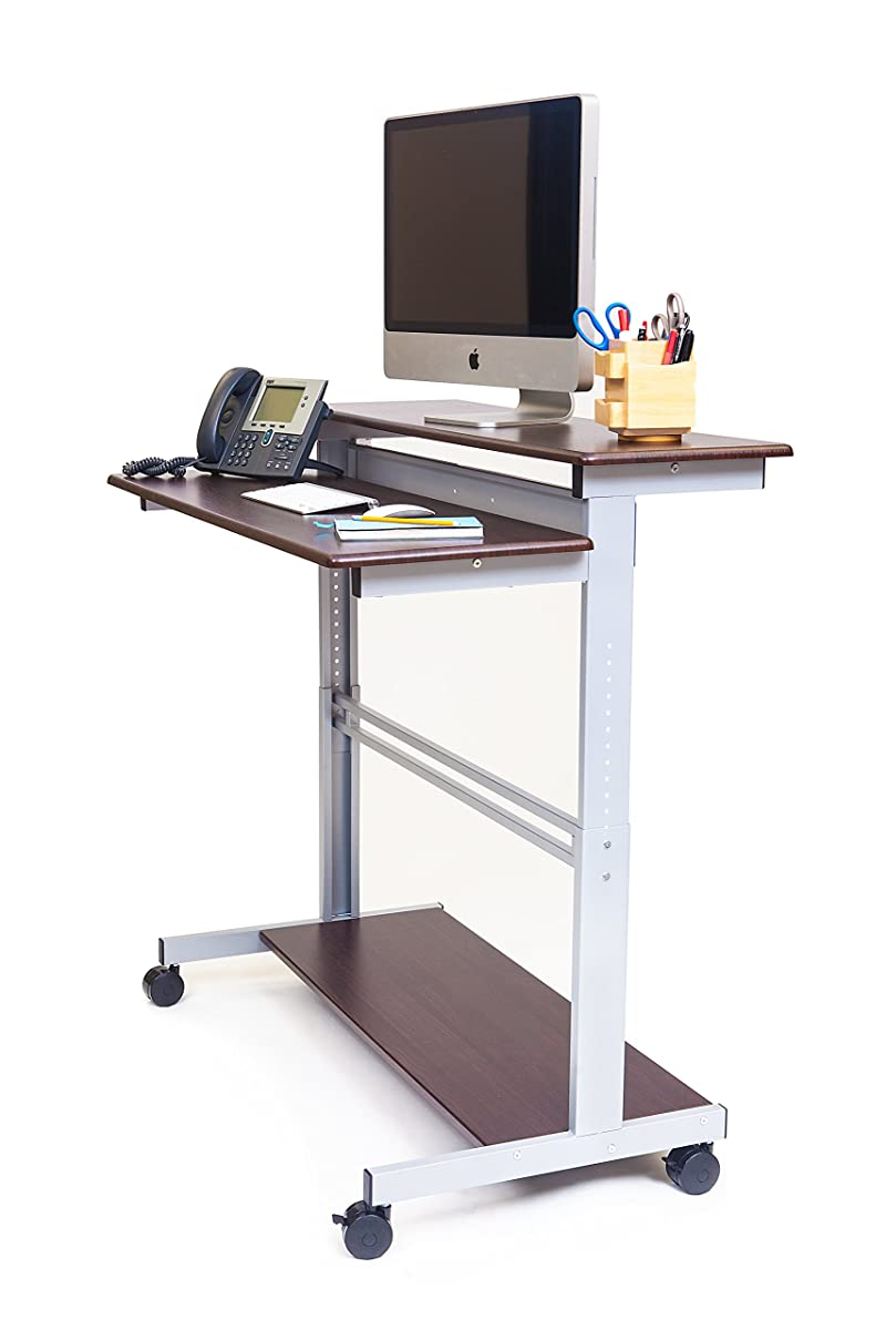 "48"" Shelves Mobile Ergonomic Stand Up Desk Computer Workstation (Dark Walnut Shelves / Silver Frame)"