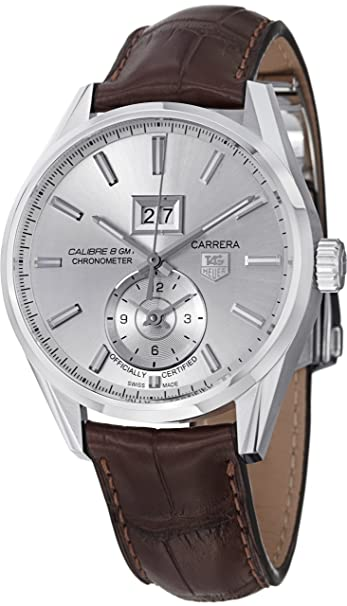 Tag Heuer Carrera Calibre 8 Automatic Silver Dial Brown Leather Mens Watch WAR5011.FC6291