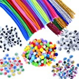 EpiqueOne 750 Pieces Kids Art & Craft Supplies Assortment Set for School Projects, DIY Activities & Parties; Pipe Cleaners & Chenille, Pom Poms, Googly Eyes, Mascara Eyes, Colored Eyes for Sensory (Tamaño: 750 Pcs)