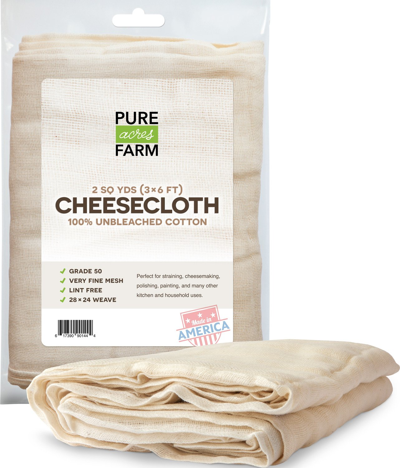 Cheesecloth - 18 Sq Feet: Grade 50 - 100% Unbleached Cotton - Filter - Strain - Reusable