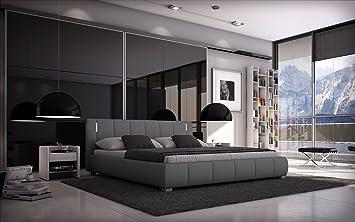 Bett LUNA 140x200er - Kunstleder grau inkl. LED