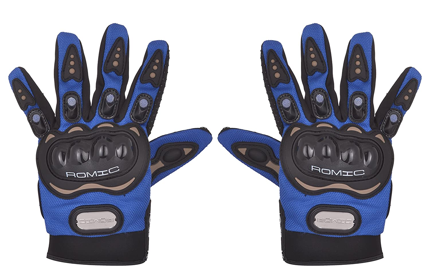 Upto 70% Off On Car & Motor Bike Accessories By Amazon | Romic Leather Motorcycle Full Gloves (Blue, Large) @ Rs.325