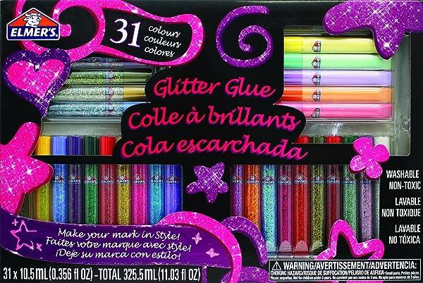 Elmer's 3D Washable Glitter Glue Pens, 31 Rainbow and Glitter Colors (E198) (Color: Classic + Rainbow Glitter, Tamaño: 31 Count)