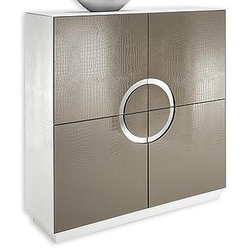 Design Schrank Kommode Buffet Sideboard Anrichte ACAPULCO, croconachahmung, weiß/cappuccino