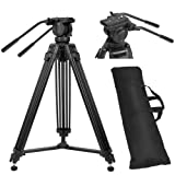 ZoMei Professional Aluminum Camera Video Tripod With 360-Degree Panoramic Fluid Head, Max. Load 26 Lbs. For DSLR Camcorder Video Shooting, Photography, Filming (Color: VT666, Tamaño: VT-2500)