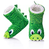 FANZERO Kids Girls Boys Floor Slippers Cute Animal Soft Warm Plush Lining Non-Slip House Shoes Winter Boot Socks 2-7 Year Old (L / 6-7 Year Old, Green) (Color: Green, Tamaño: L / 6-7 Year Old)