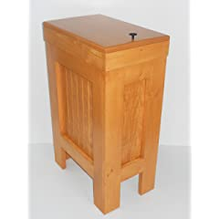 Wooden Wood Kitchen Trash Bin Garbage Can Rectangular 13 Gallon Solid Pine Harvest Gold Stain- Handcrafted in USA By Buffalowoodshop