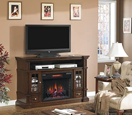 "ClassicFlame 28MM6240-O128 Belmont TV Stand for TVs up to 65"", Caramel Oak (Electric Fireplace Insert sold separately)"