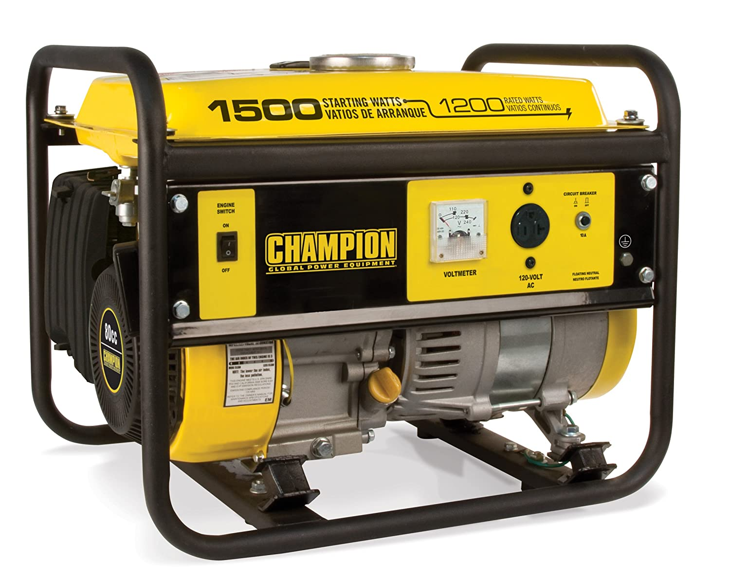 Champion Power Equipment 42436 1500-Watt Portable Generator, CARB ...