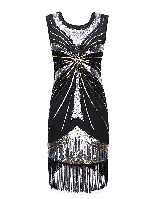 PrettyGuide Women 1920s Vintage Beads Sequin Fireworks Fringed Flapper Dress Silver L
