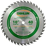 Oshlun SBW-100040HK 10-Inch 40 Tooth Ultimate General Purpose High ATB Thin Kerf Saw Blade with 5/8-Inch Arbor (Tamaño: 40 Tooth Ultimate)
