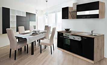 Respekta Fitted Kitchen Units 220 cm Sonoma Oak Rough Sawn Front Black with Designer Angle Hood