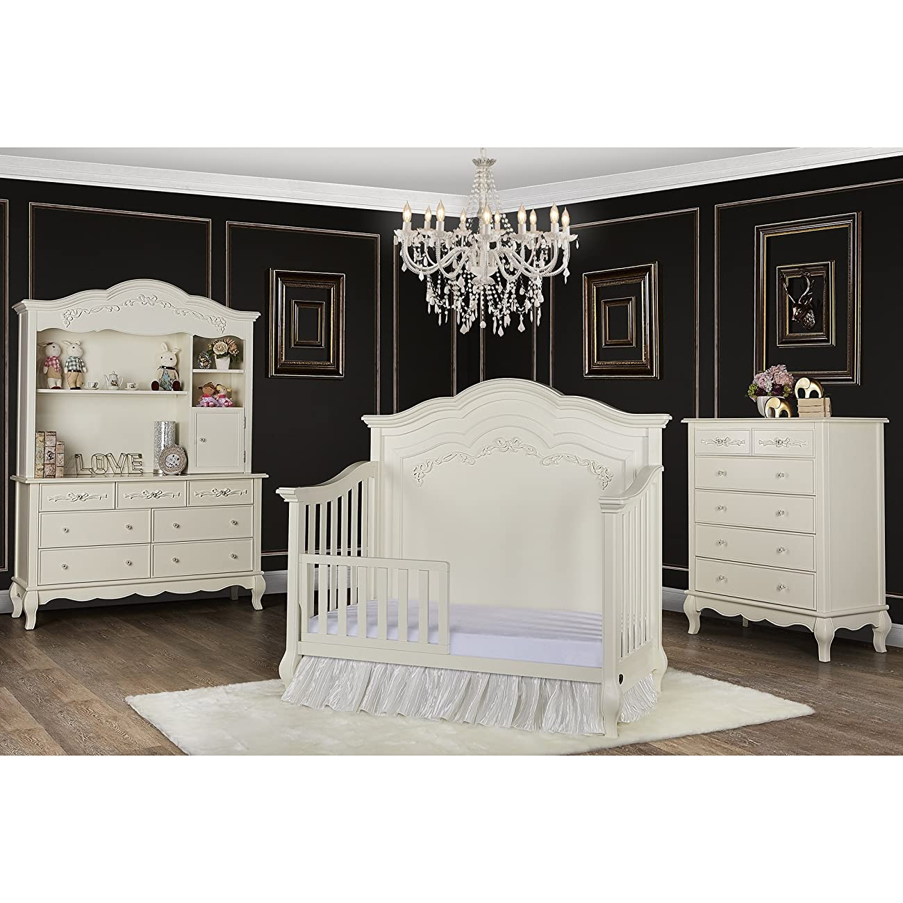 Evolur Aurora 5-in-1 Convertible Crib, Ivory Lace 3