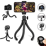 Phone Tripod, Flexible Cell Phone Tripod Adjustable Camera Stand Holder with Wireless Remote Control and Universal Clip 360° Rotating Portable Tripod for iPhone, Android Phone, Sports Camera GoPro (Color: Black)