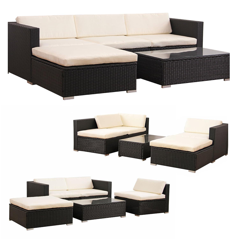 POLY RATTAN Lounge Gartenset SCHWARZ Sofa Garnitur Polyrattan Gartenmöbel Neu günstig kaufen