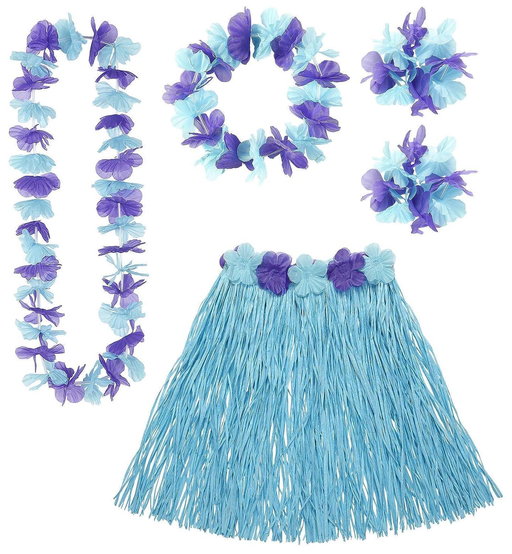 HAWAIIAN SET - BLUE (skirt lei cown 2 bracelet)