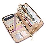 WOZEAH Women's RFID Blocking PU Leather Zip Around Wallet Clutch Large Travel Purse (A purple) (Color: A Purple, Tamaño: Large)
