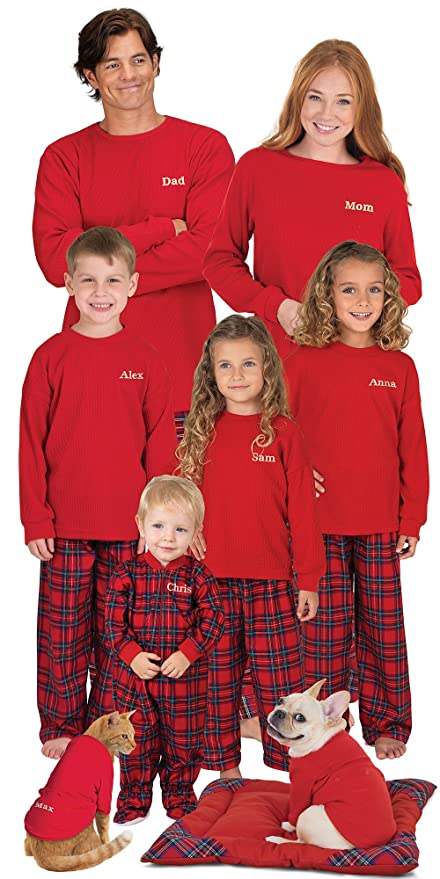 Red Cotton Flannel Stewart Plaid Matching Pajamas for the Whole Family