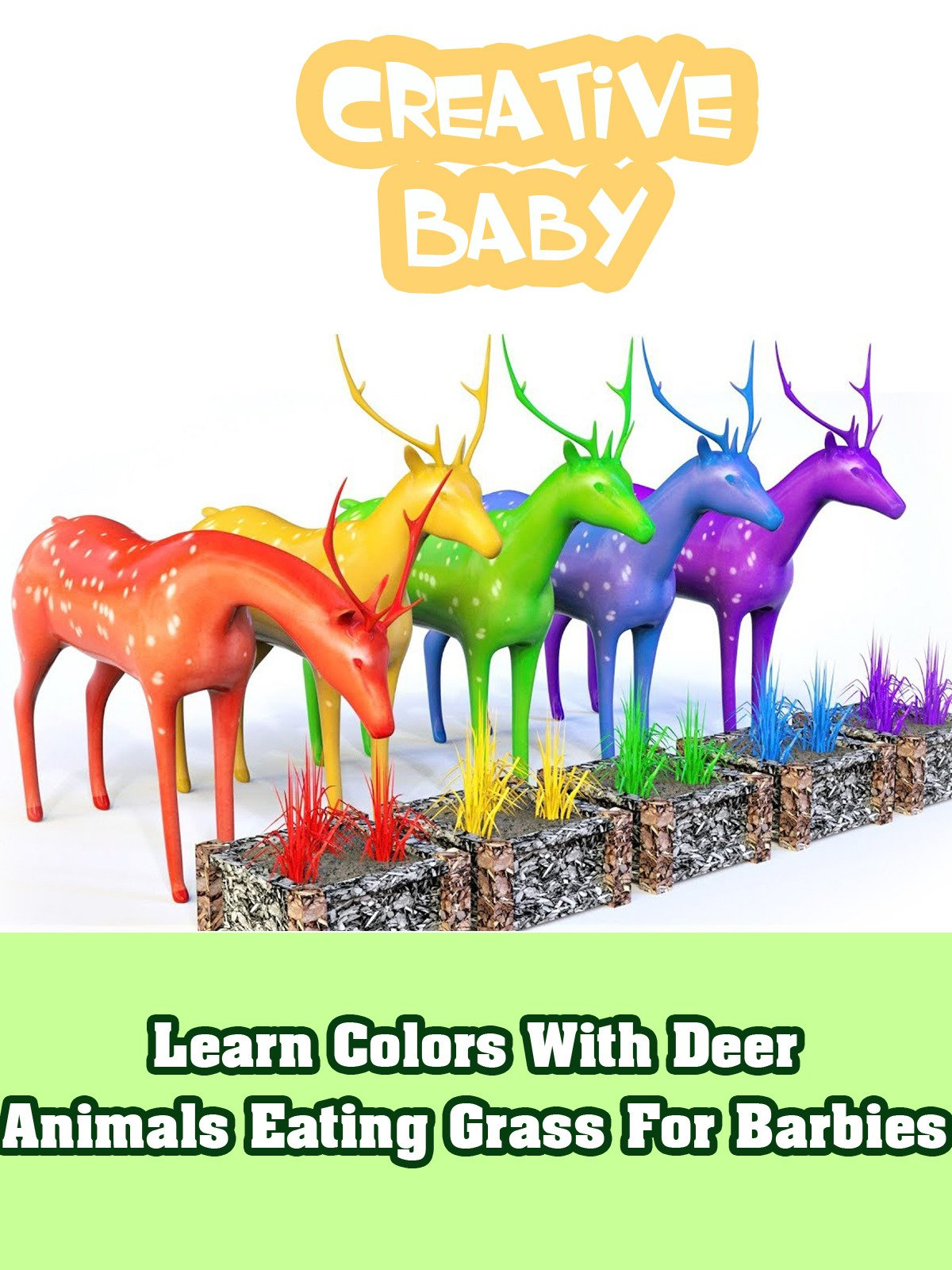 Learn Colors With Deer Animals Eating Grass For Barbies