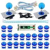 SJ@JX 2 Player LED Arcade Game DIY Kit Highlight LED Button Fighting Joystick Controller Zero delay USB Encoder Retropie PC MAME Mechanical Keyboard Switch Raspberry Pi LED Button (Color: blue)